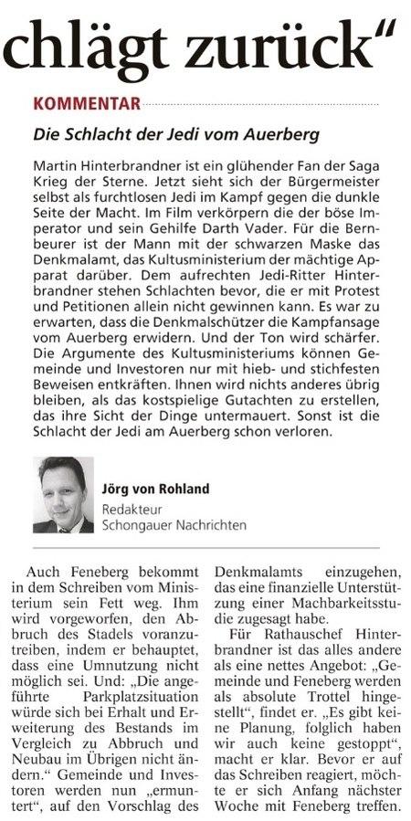 Bernbeuren: Berichterstattung und Leserbriefe zum Thema Schnitzer-Stadel
